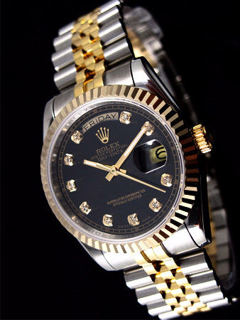 Rolex President 18k Yellow Gold 2Tone Black Diamond Dial Mens Watch 40mm
