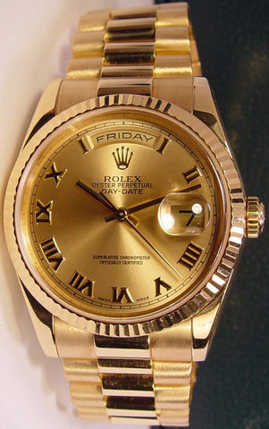Rolex President Replica 18k Yellow Gold Roman Dial Mens Watch 40mm - TheBestReplicaWatches.com