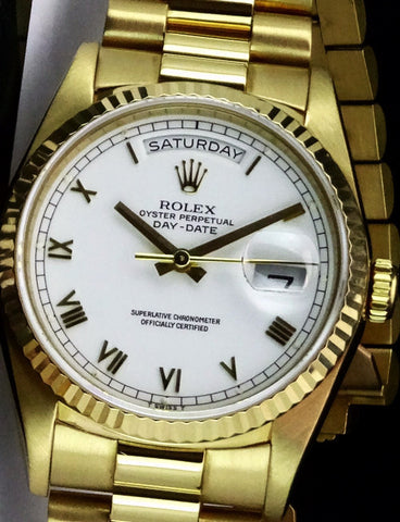 Rolex President Replica 18k Yellow Gold White Roman Dial Mens Watch 40mm