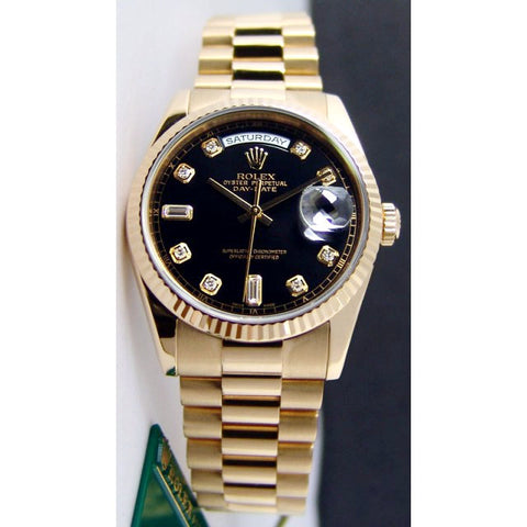Rolex President Replica 18k Yellow Gold Black Diamond Dial Mens Watch 41mm - TheBestReplicaWatches.com