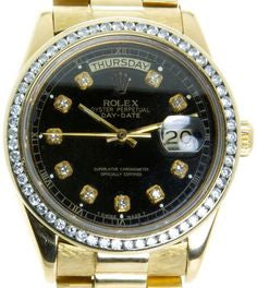 Rolex President 18k Yellow Gold Black Diamond Dial/Bezel Mens Watch 40mm