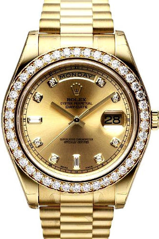 Rolex President 18k Yellow Gold With Gold Diamond Dial/Bezel Mens Watch  40mm