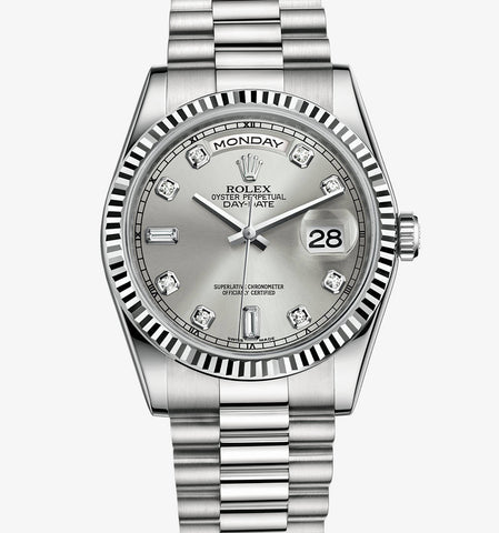 Rolex President Stainless Steel Silver Diamond Dial Mens Watch 40mm - TheBestReplicaWatches.com