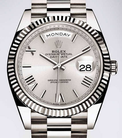 Rolex President Stainless Steel Silver Roman Dial Mens Watch 40mm - Price Reduced