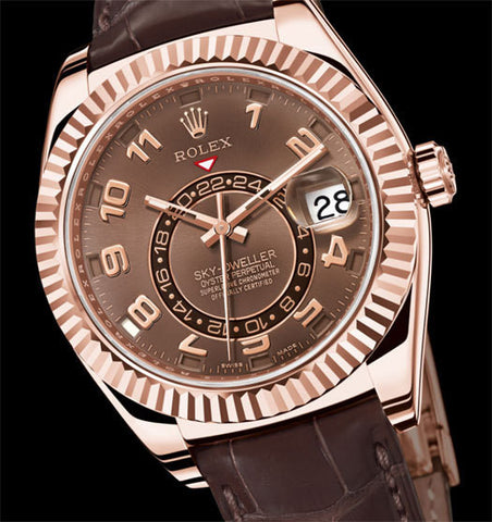 "Rolex Sky-Dweller Replica 18k Rose Gold ""Dual Time Zone"" Leather Band Mens Watch - TheBestReplicaWatches.com"