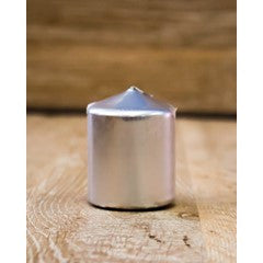 38mm x 50mm pillar candle – 12 pack - Metallic Silver