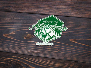 Heart of Adventure Vinyl Sticker -Apparel in the Great Pacific Northwest