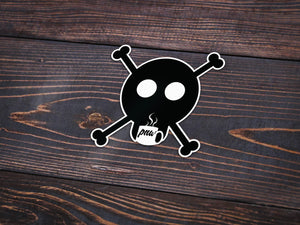 Coffee Skull Vinyl Sticker -Apparel in the Great Pacific Northwest
