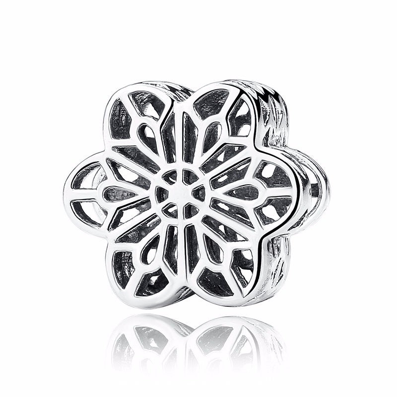 2529d8d16 BAMOER Vintage 925 Sterling Silver Flower Floral Daisy Lace Ring Authentic  Fine Jewelry for Women Wedding PA7180