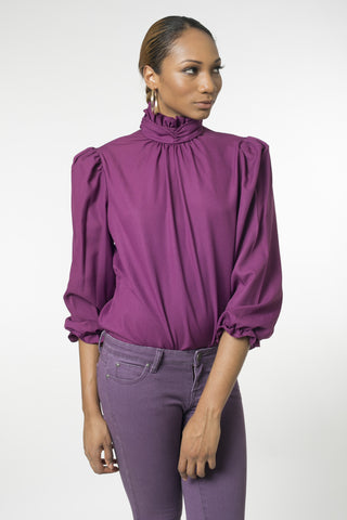 Empress Royal Purple Ruffle Neck Blouse