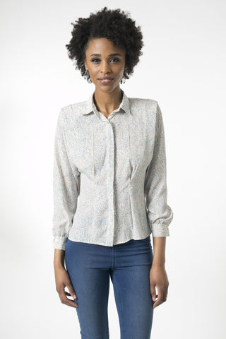 Pastel Print  Button Down Blouse with Power Shoulder