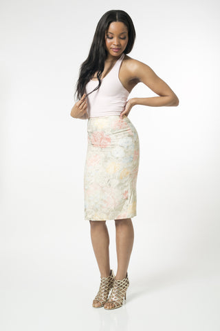 Floral Emobodiered Pastel Pencil Skirt