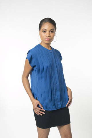 Short Sleeve Persian Blue Panel Blouse