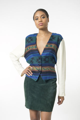 Forest Green Pulled Back Vest Blouse