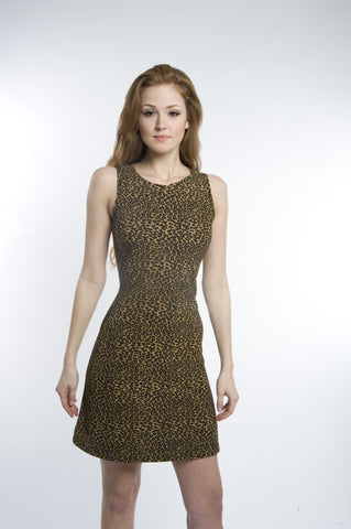 Feline Leopard A Line Mini Dress