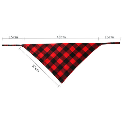 Red and Black Plaid Tie Down Bandanna