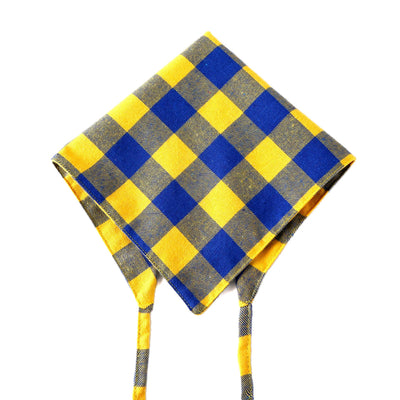 Yellow and Blue Plaid Tie Down Bandanna