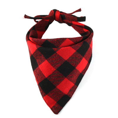 Bernard and Kitty Red and Black Plaid Tie Down Bandanna