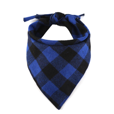Bernard and Kitty Blue and Black Plaid Tie Down Bandanna Premium