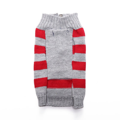 Zip Up Cotton Red and Grey Stripped Dog Sweater