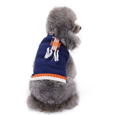 Snuggly Blue Dog Sweater with Faux Scarf