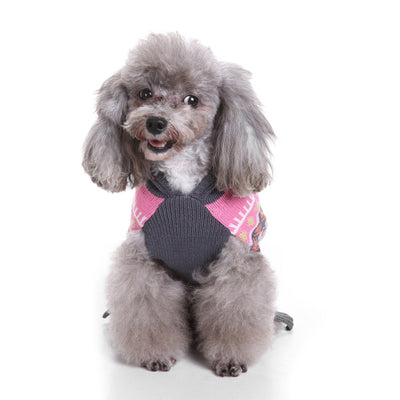 Pink and Grey Pet Hoodie with Pom Pom