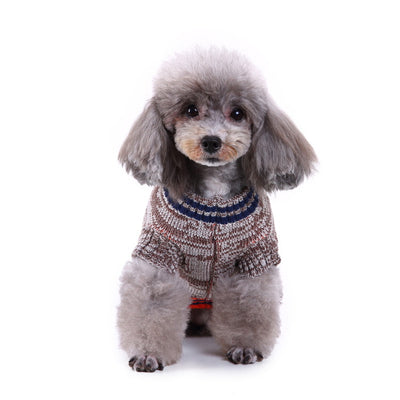Bernard and Kitty Brown and Orange Too Cool For School Pet Sweater with Faux Pockets