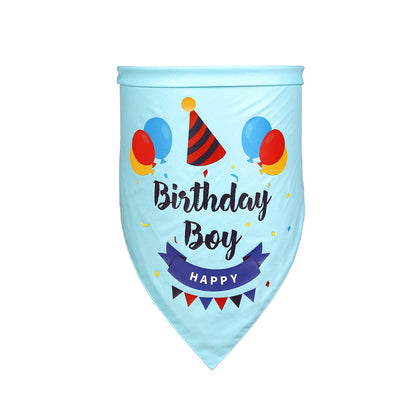 Happy Birthday Pet Bandanna Triangle Light Blue tied