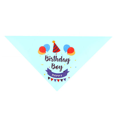 Happy Birthday Pet Bandanna Triangle Light Blue