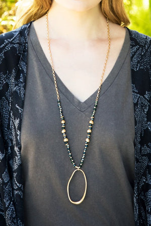 Metal Oval and Glass Bead Necklace