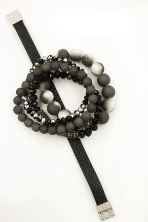 Faux Leather/Faceted Bead Bracelet Set