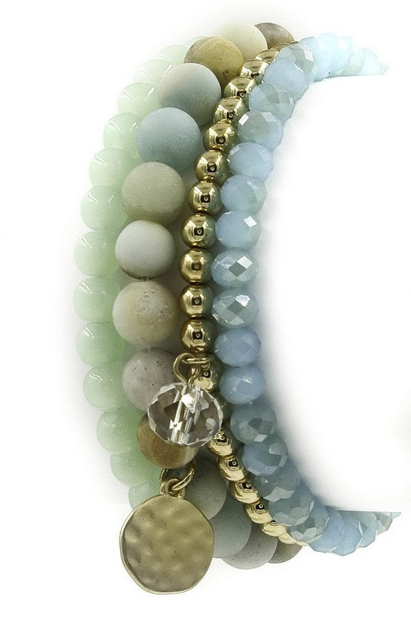 Stone/Faceted Bead Stretch Bracelet Set