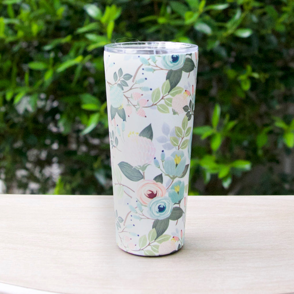 Stainless Large Tumbler - Peach Floral