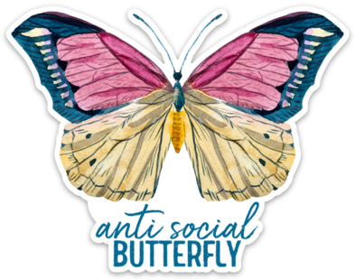 Anti-Social Butterfly Sticker