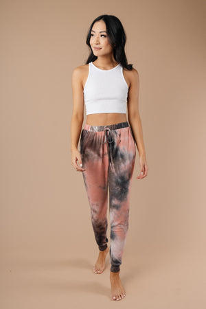 Forgotten Dreams Tie Dye Joggers In Mauve