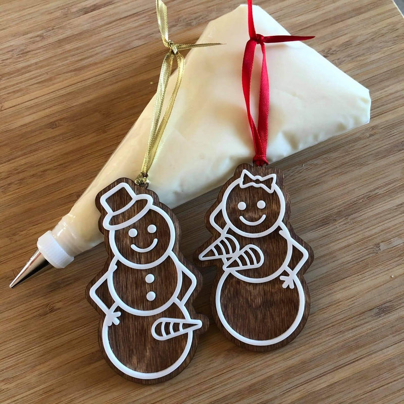 Naughty Gingerbread Snowman Ornaments