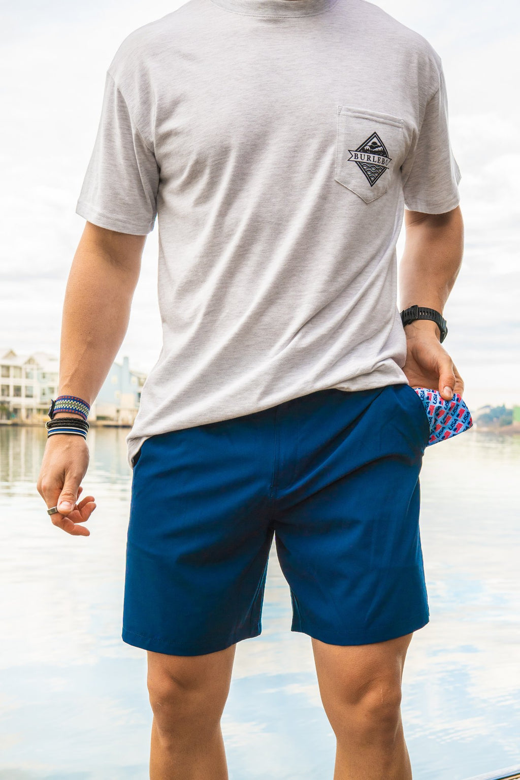 Deep Water Navy - USA Pockets Shorts