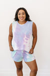 Watercolor Tie Dye Shorts In Lilac