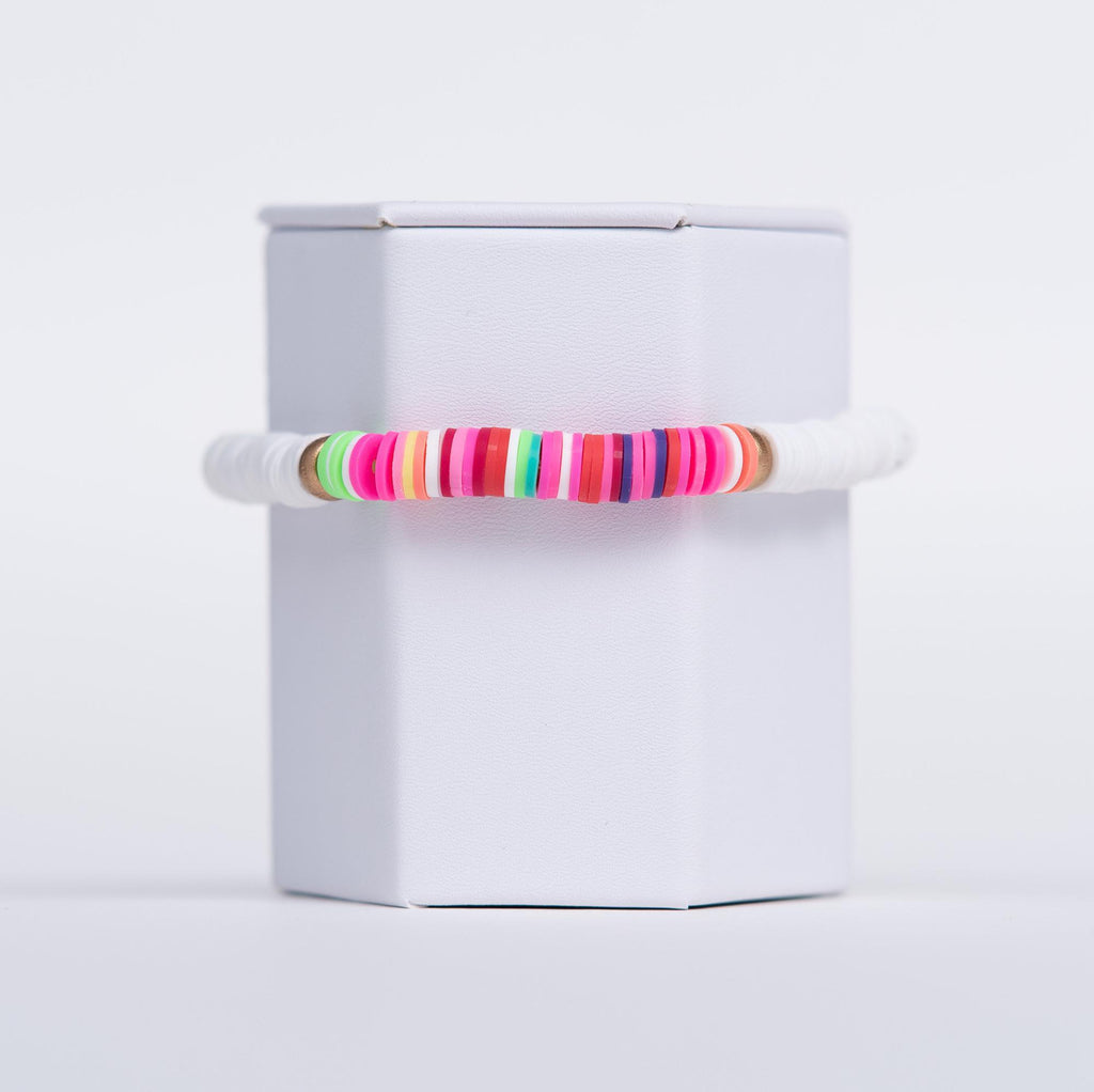 Colorful Beaded Bracelet - White w/Rainbow Accent