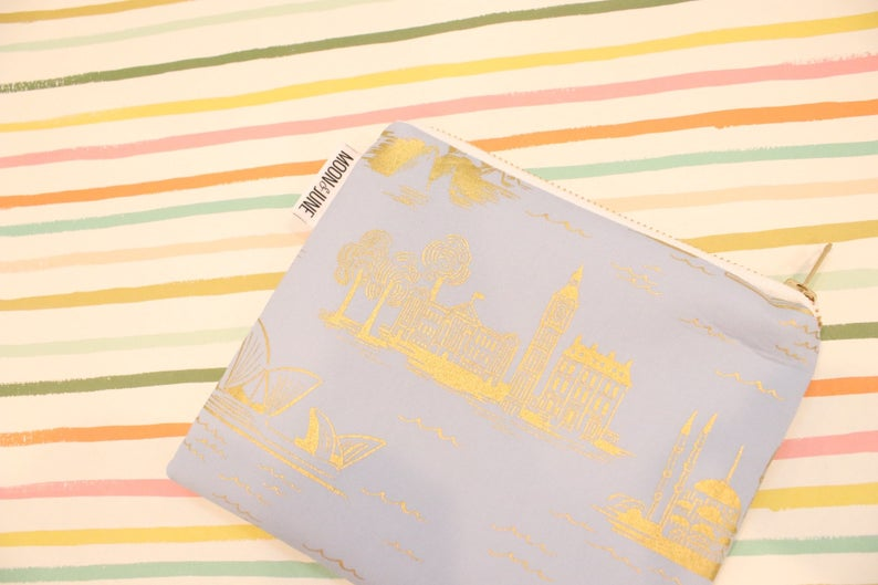 Rifle Paper City Toile Medium Zipper Bag