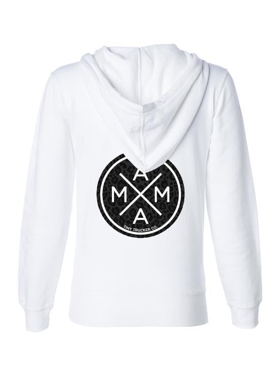 MAMA X ™ Zip Up Sweatshirt - White w/Black Leopard