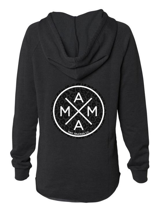 MAMA X ™ V-Neck Sweatshirt - Black Leopard
