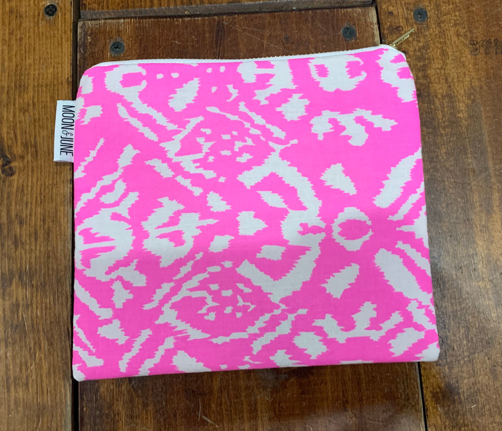 Neon Pink Ikat Medium Zipper Bag