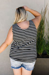 Stripe On All Summer Long Tank In Black