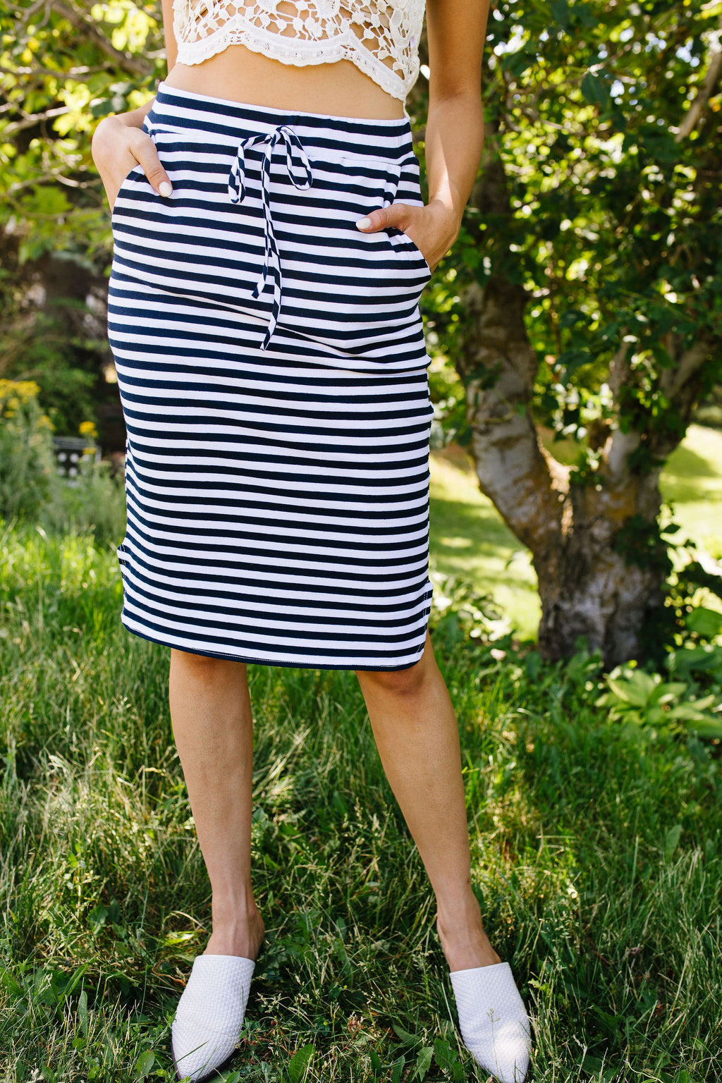 Striped Drawstring Skirt In Navy