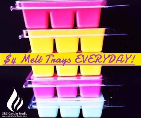 S&S SCENTED SOY MELT TRAYS - $4 STANDARD MELT TRAYS EVERYDAY!