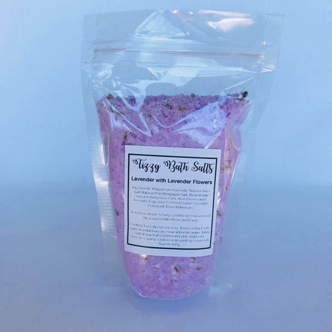 Fizzy Bath Salts - 250g IN LAVENDER WITH LAVENDER FLOWERS