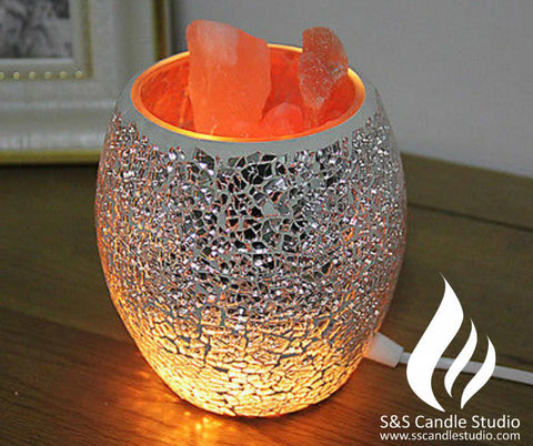 Glass Jar Himalayan Salt Lamps – Silver Chip