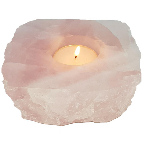S&S Rose Quartz Polished Crystal Candle Holder 7.5
