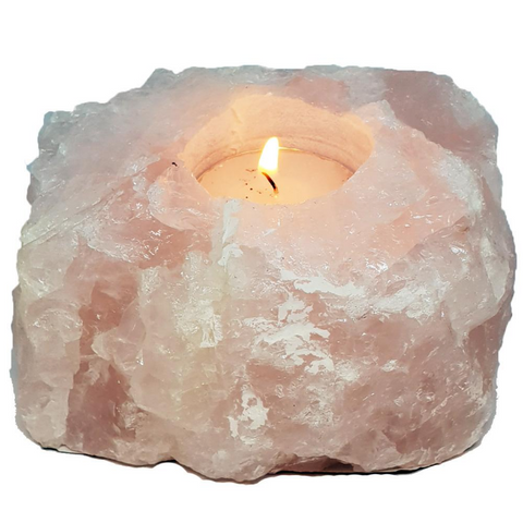 S&S Rose Quartz Rough Crystal Candle Holder